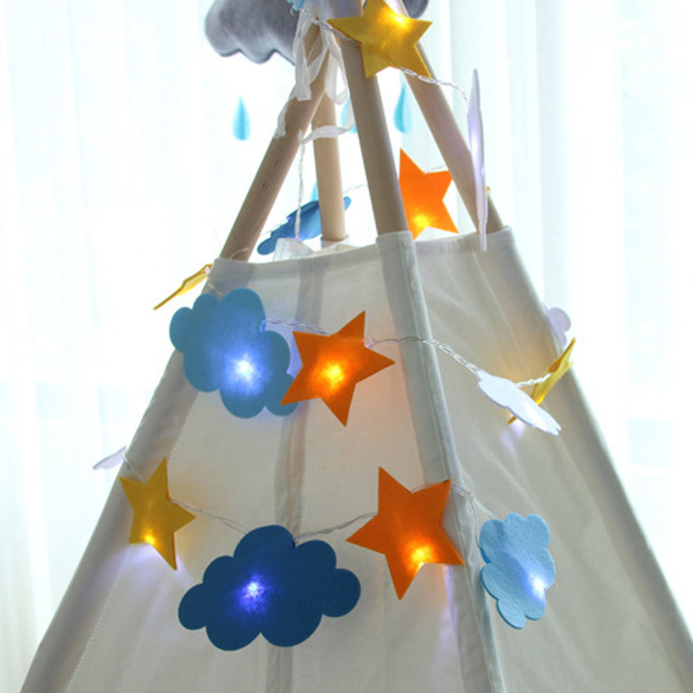 Star Moon Cloud LED Decorative Lamp Cartoon Lovely Light High Quality Nonwovens Holiday Kids Room Tent Decorative Lights