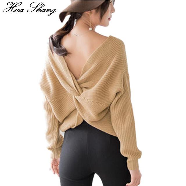 Autumn Winter Elegant Corss Back Knitted Sexy Sweaters And Pullovers Women V Neck Oversized Sweaters Black Jumper Pull Femme