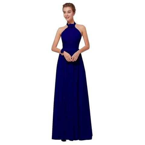 Royal Blue Chiffon Bridesmaid Dresses 2019 Long for Women Plus Size A-Line Sleeveless Wedding Party Prom Dresses Beauty Emily Karachi