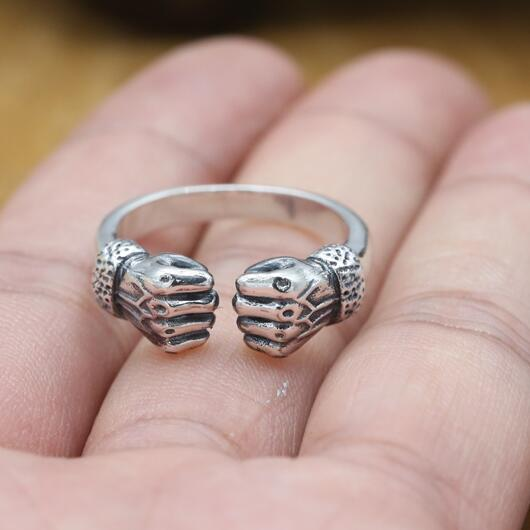 Vintage 925 Silver Fist Ring Real Sterling Silver Man Ring Pure Silver Hip hop Jewelry Ring Adjustable|jewelry rings|men ringring adjustable - AliExpress