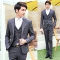 Свадебные костюмы для мужчин 3 шт. формальные slim-подходят Blazer жилет классические костюмы смокинг жениха платья бизнес плед костюмы пальто брюки XY15