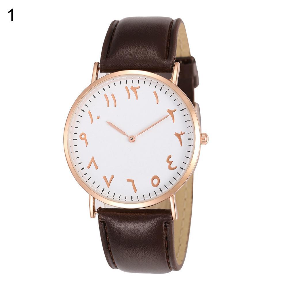Fashion Arabic Analog Round Dial Men Women Quartz Faux Leather Band Wrist Watch Zegarek Watches Men