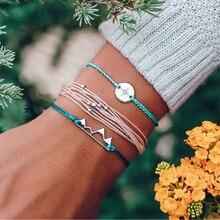 New Fashion 3pcs/set Boho Handmade Layered String Rope Bracelet Triangle Round Beads Bangles Set Indian Jewelry