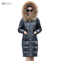 New Arrival Genuine Leather Coat White Duck Down Outerwear Natural Fur Collar Hooded Zipper Sheepskin Leather Jackets OK1086