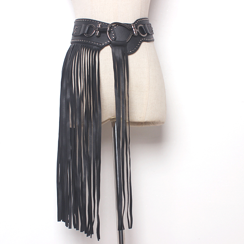 Europe Fantastic Long Fringe Belt Black Leather Designer Belts For Women Long Tassels Pin Buckle Corset Belt Spot Trendy
