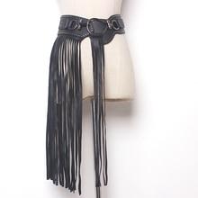 купить Europe Fantastic Long Fringe Belt Black Leather Designer Belts for Women Long Tassels Pin Buckle Corset belt Spot trendy дешево
