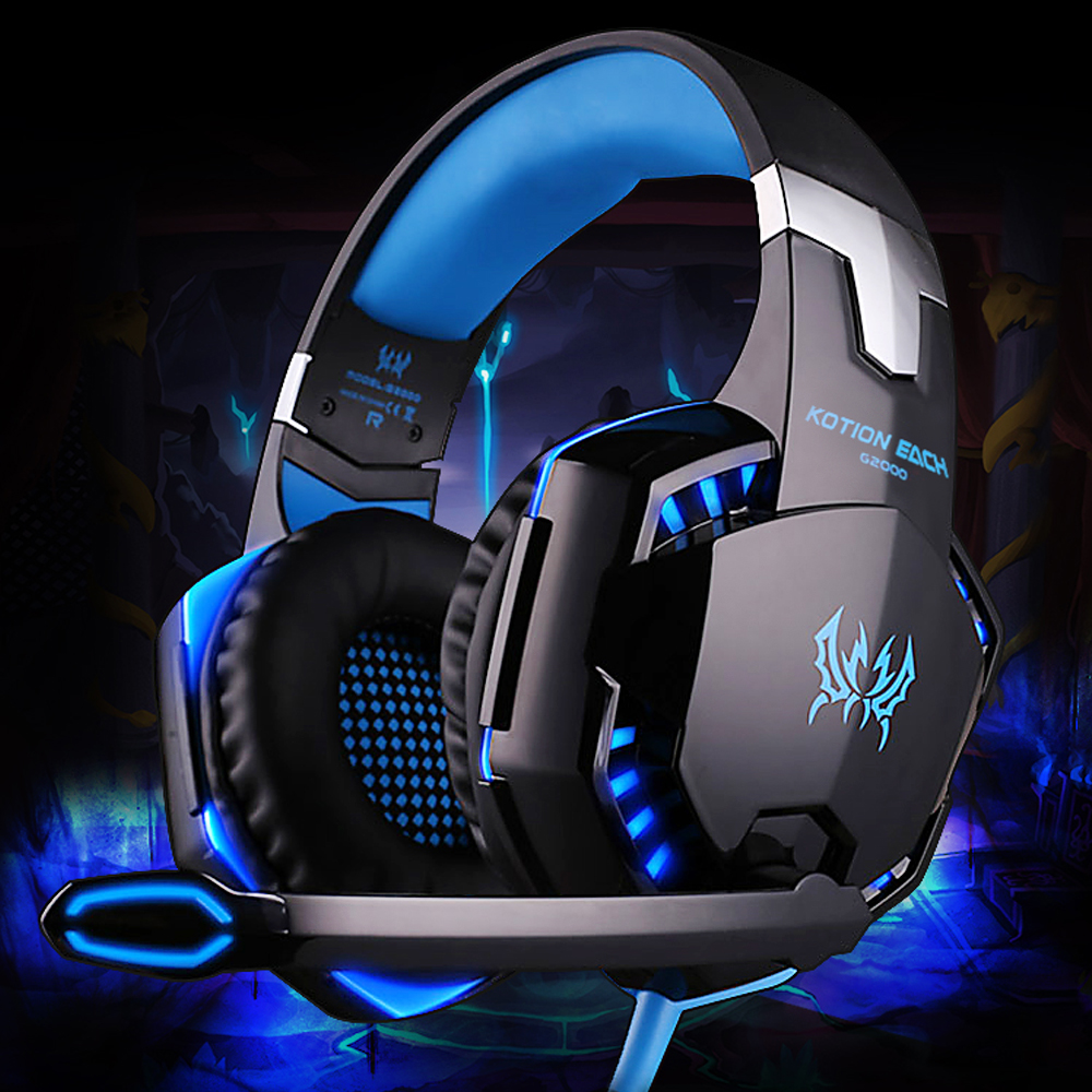 Gaming Headphones Wired Deep Bass Headset with Microphone LED Lamp Noise Canceling Headphones For PC LOL Gamer PS4 G2000