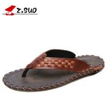 257ebe2dcb087 Summer Genuine Leather Men Flip Flops Fashion Weave Slippers Men Beach Shoes  2018 Leisure Fashion Flat Sandals Male Totem Slides