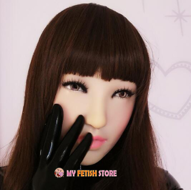 (XinY) Quality Handmade Plastic Realist Full Head Female/Girl Crossdress Sexy Doll Face Cosplay Mask With Wig