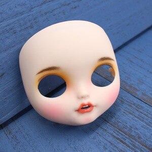 Image 5 - Blyth doll glacé personnalisé visage bouche ouverte avec dents langue peau blanche lèvres sculpte le visage des sourcils avec plaque arrière et vis