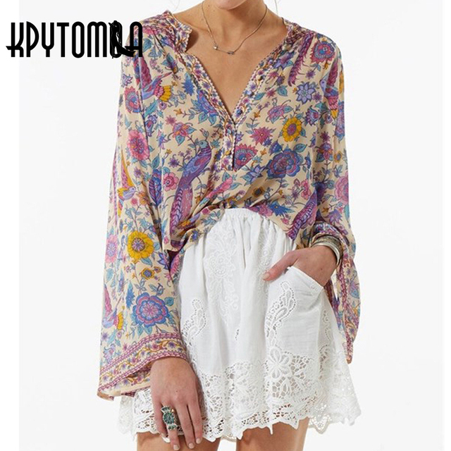Boho Vintage Peacock Floral Print Blouse Shirt Women 2018 New Fashion Flare Sleeve Loose Blouses Tops Casual Femme Blusas Mujer
