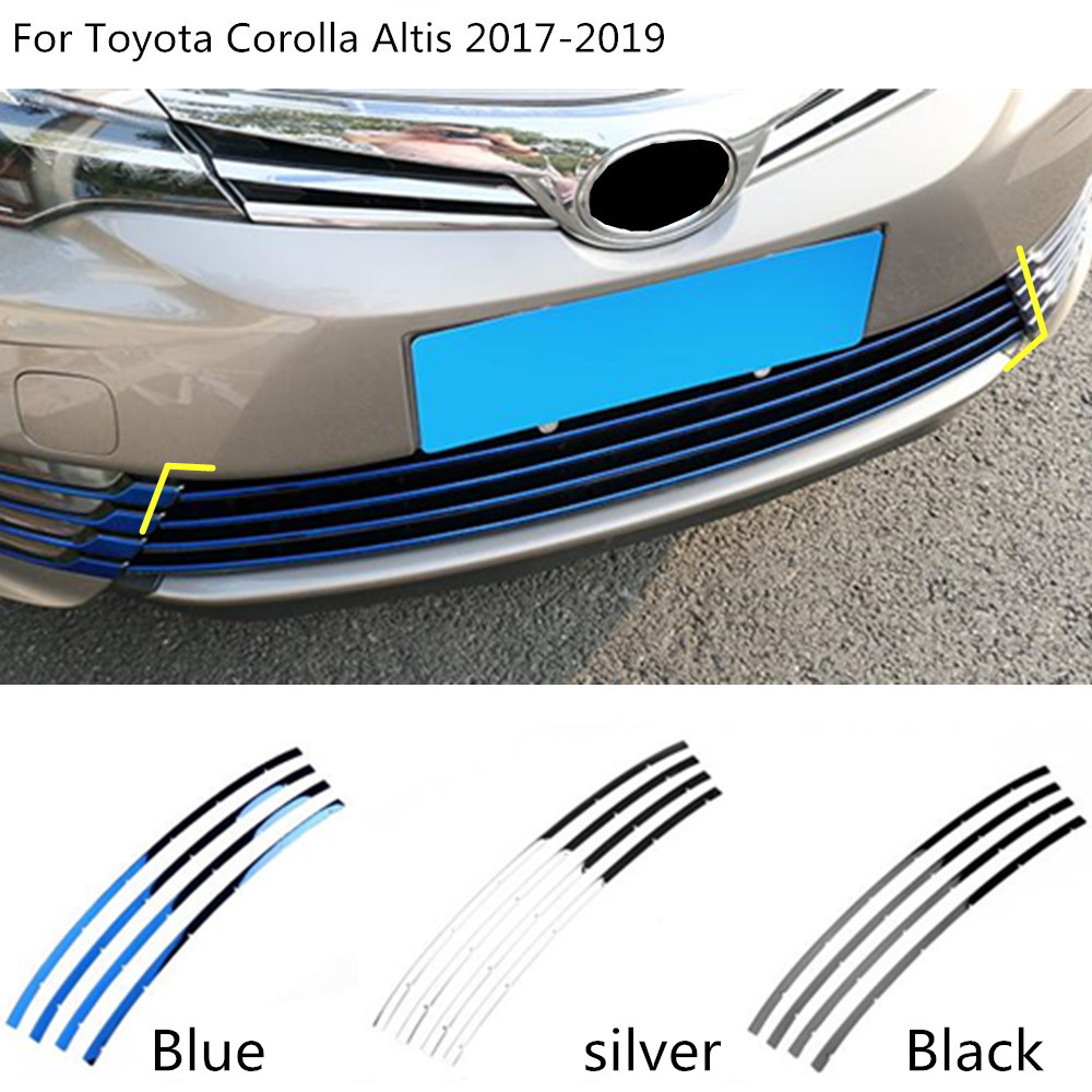 car styling cover protect Stainless steel trim Front up Grid Grill Grille racing 3pcs For Toyota Corolla Altis 2017 2018 2019
