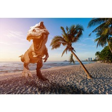 Laeacco Photo Background Tropical Sea Beach Running Dinosaur Palm Tree Baby Child Portrait Photography Backdrop For Studio