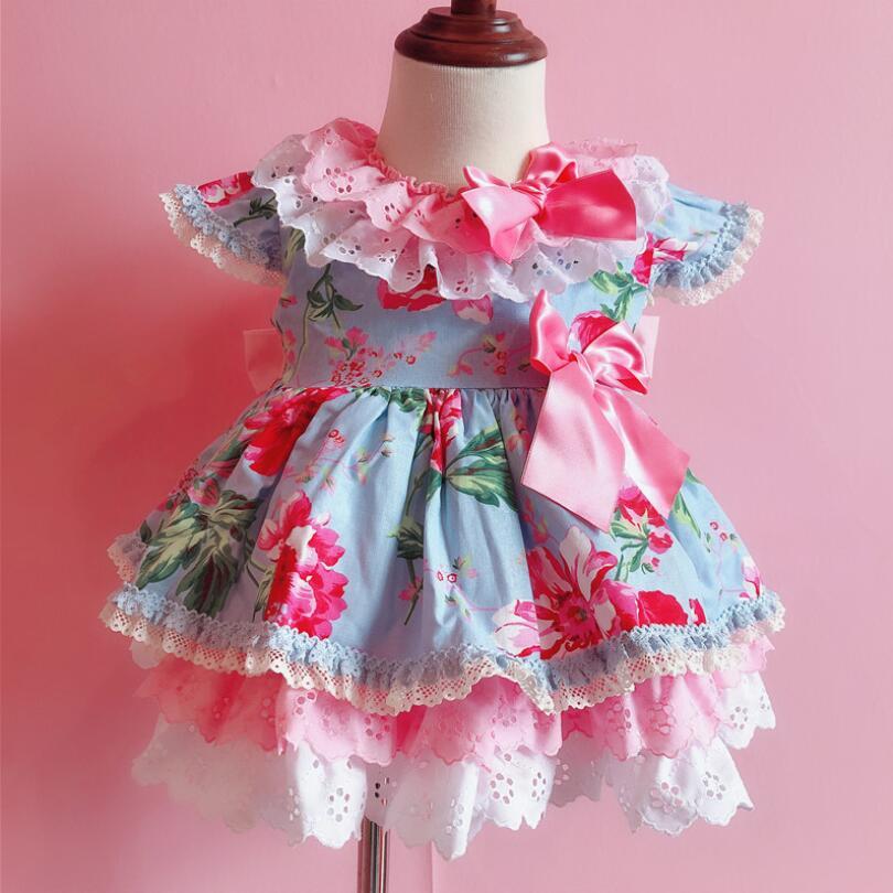 2019 enfants Boutique Floral robe pour filles enfants espagnol Palace bébé anniversaire mignon robe bambin vêtements