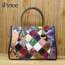 iPinee Women Cowhide Leather Snake Pattern 100 REAL LEATHER Handmade Patchwork Women Shoudler Bags Shiny Color