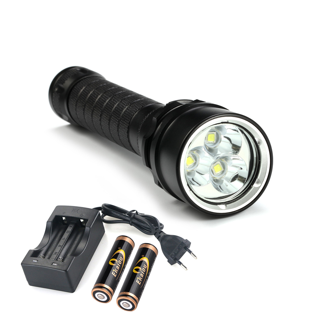 high power 9000 lumens 3 x CREE XML-L2 Waterproof LED Flashlight Torch Camping Tactics light & 2 x 18650 battery + charger stylish 2 x 18650 battery holder external power charger w 1 led flashlight yellow page 4 href