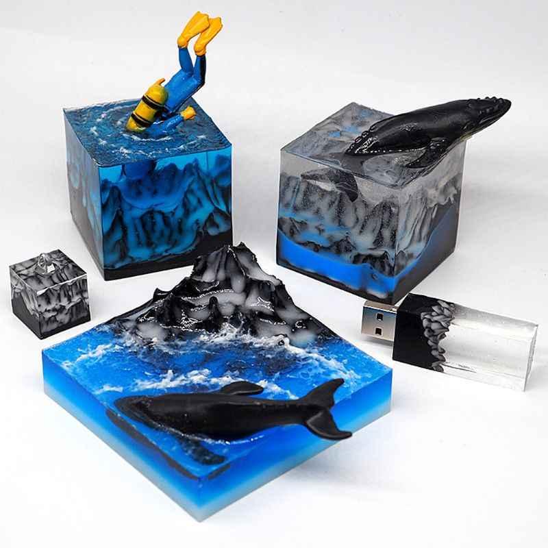 Snow Mountain แม่พิมพ์ซิลิโคนเรซินแม่พิมพ์ DIY ภูมิทัศน์ Micro USB ไดรฟ์เรซินแม่พิมพ์