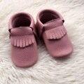 Rosa de Cuero Genuino Niña Zapatos de Bebé Mocasines