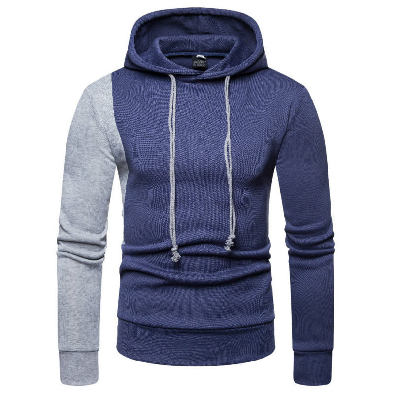 Mens Autumn Winter New Stitching Color Pullover Coat Hoodie Men Casual Hoodies Long Sleeve Hooded Hoody Style Male Tops 4colour