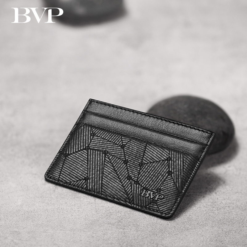 Famous BVP Brand Design High Quality Genuine Leather Man Card Holder Cow Leather Slim Mini Wallet