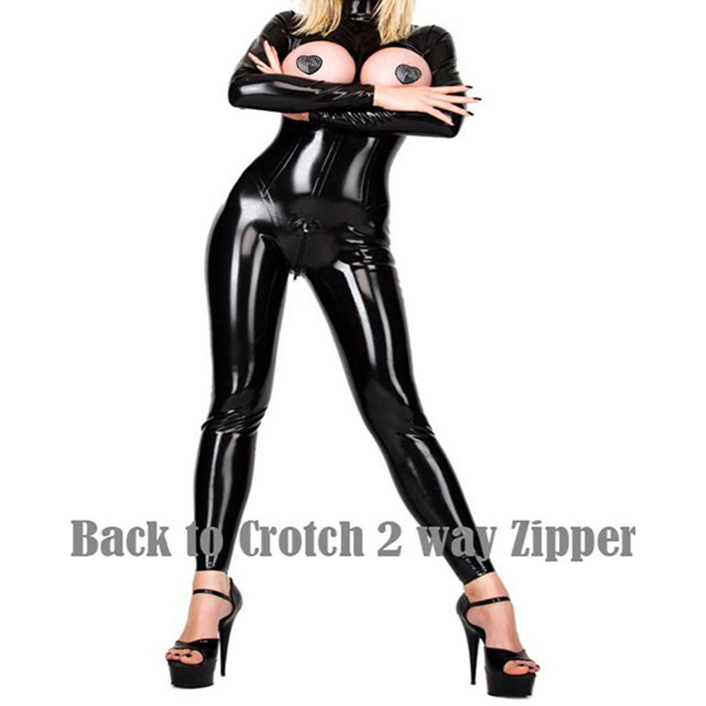 CFYH 2018 New Women Leather Teddy Bodysuit <font><b>Sexy</b></font> Exotic Hot Open Bust and Open Crotch Tight Erotic Fetish Latex jumpsuits <font><b>XXL</b></font> image