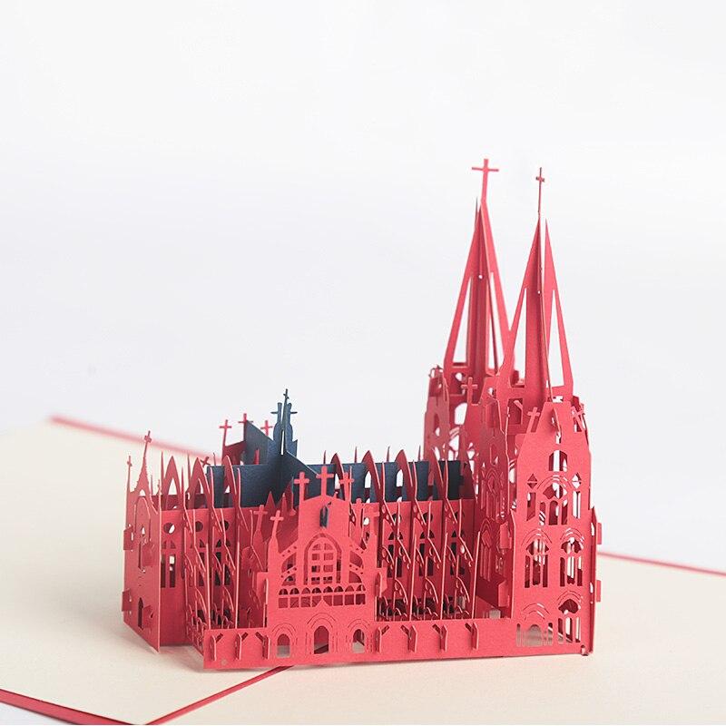 3D корон церкви лазерная резка всплывающие Винтаж день рождения ручной работы пустые открытки подарки пожелания открытки ремесла с конверт...