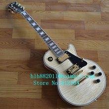 Freies verschiffen fertigte neue LP e-gitarre in natürliche farbe mit mahagoni korpus und hals + schaumkasten 1081