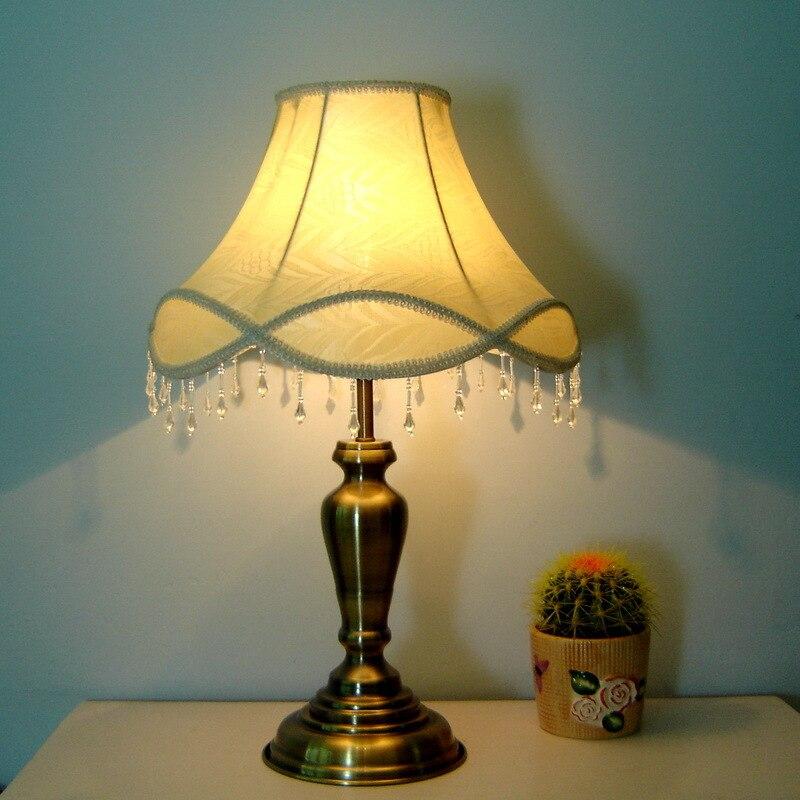 European Bronze Bedroom Bedsides Table Lights Fabric Beads Hanging Living Room Lamps Study Desk Lighting Fixtures