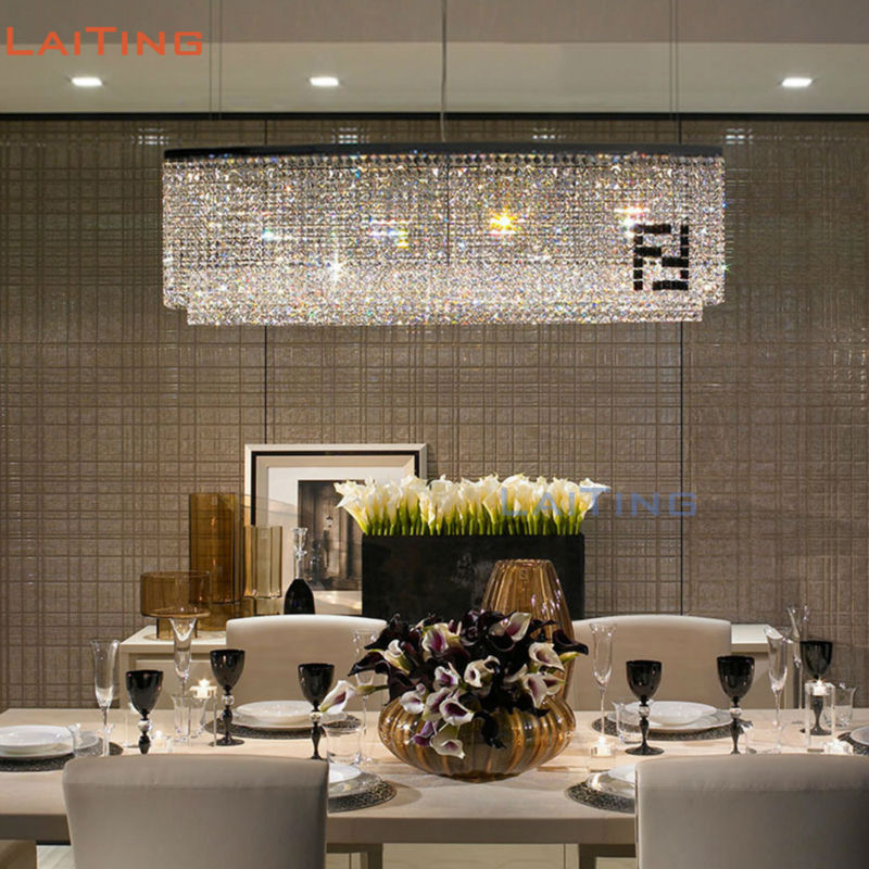 Unique Rectangular Dining Room Chandeliers: American DIY Exclusivity Rustic Rectangle Crystal