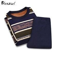 Bleuziel высокое качество Термальность пижамы установить новые с длинным рукавом толстые разделе плюс кашемировые зимние Утепленная одежда Нижнее Бельё для девочек комплект Для мужчин