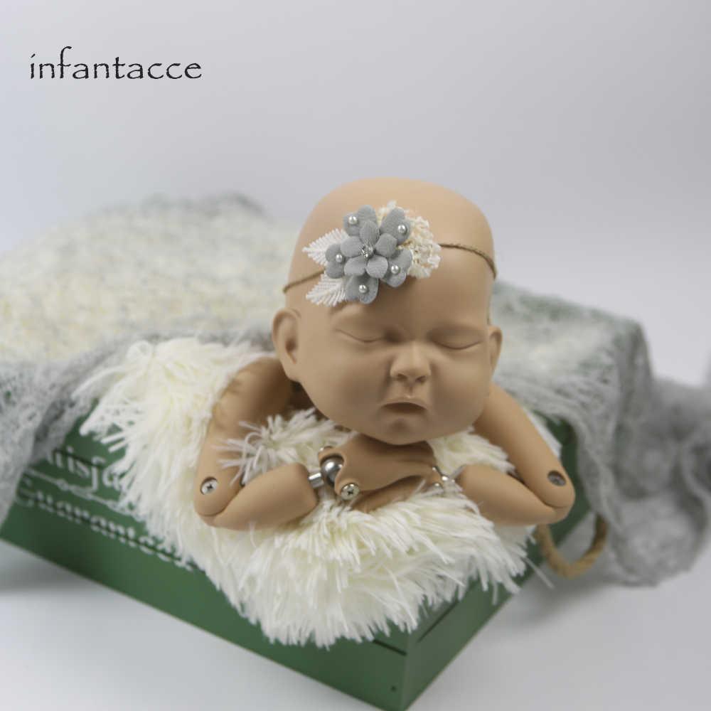 Реквизит для фотосъемки Новорожденных Обертывание + повязка на голову мохеровые вязаные обертывания s одеяло requisiten babyshooting детский гамак бутафорские аксессуары наполнитель