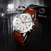 2017 GUOTE brand quartz watch Casual Fashion Soft Leather watches Waterproof men watch free shipping Sports Casual Wristwatch