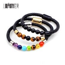 UBEAUTY Healing Balance Bead Bracelet Fashion Women Bracelets Jewelry Rainbow Natural Stone Reiki BuddhaPrayer Natural Pulseras