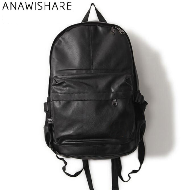 ANAWISHARE Men Leather Backpacks Black School Bags For Teenagers College  Bookbag Laptop Backpacks Travel Bags Mochila 0dadd8e801