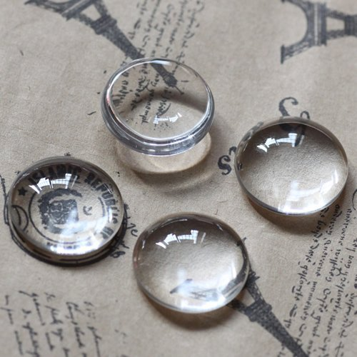 Envío Gratis! joyería DIY findings-15mm diámetro 6mm vidrio grueso redondo camafeo cabujón