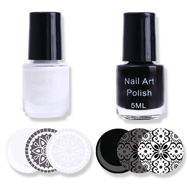 2 Bouteilles Blanc Noir Ongles Estampage Polonais Manucure Nail Art ...