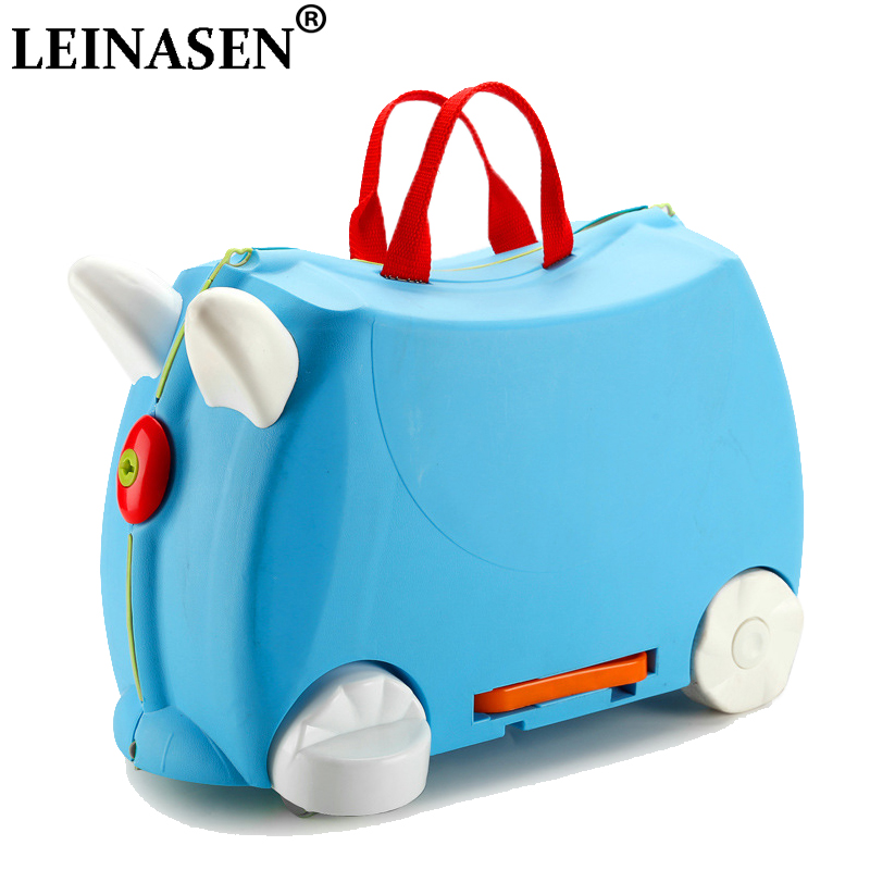 HOT Fashion Travel Luggage Locker Boy Girl Car Toy Box Suitcase Can Sit To Ride Baby Check Box Children Holiday Gift Storage Box
