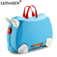 HOT fashion travel luggage locker boy girl car Toy box suitcase Can sit to ride baby Check box children holiday gift storage Box(China)
