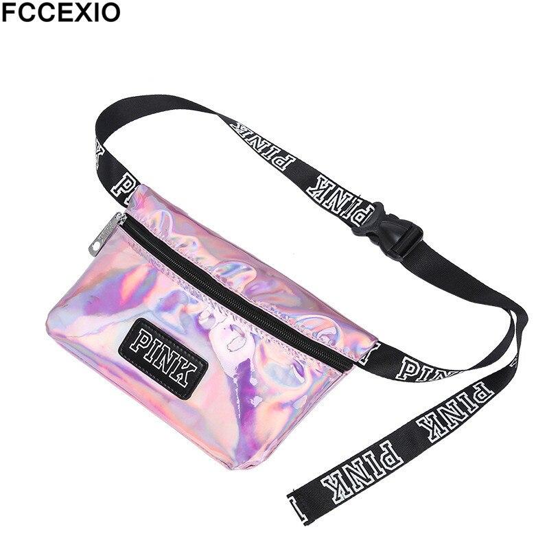 FCCEXIO Wholesale Fanny Pack Love Pink Girl Bag Waist Bag Women Travel Business Handbags Pink Letter Beach Shoulder Bag pink shoulder cutout