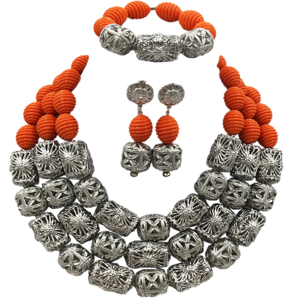 New Arrived Orange Artificial Coral Beads Jewelry Set African Necklace Nigerian Wedding Bridal Jewelry Sets ACB-13New Arrived Orange Artificial Coral Beads Jewelry Set African Necklace Nigerian Wedding Bridal Jewelry Sets ACB-13