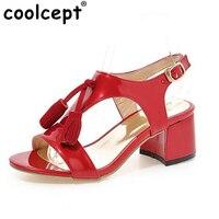 Woman Square Heel Shoes Women Fashion Tassel High Heel Sandals Female Buckle Strap Footwear Heeled Shoes