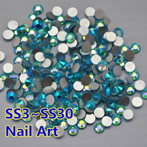 SS3~SS30 Aquamarine AB Color Crystal Flat Back Non Hotfix Rhinestones,Nail Art Glue On glass Rhinestones