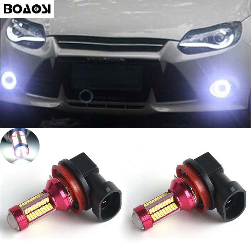 BOAOSI 2x <font><b>H8</b></font> H11 4014 <font><b>CREE</b></font> Chip <font><b>LED</b></font> Fog Light Driving Bulbs Error Free For FORD MONDEO MK3 MK4 C-MAX S-MAX FOCUS 01+ FUSION image