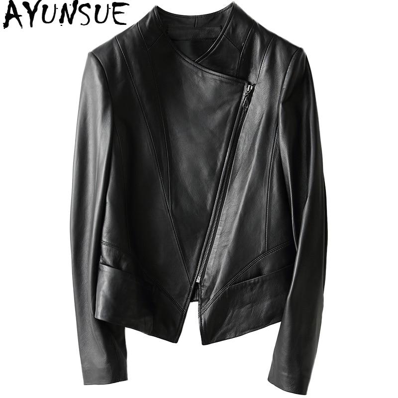 AYUNSUE 2019 Casual Spring Autumn Genuine Leather Jacket Real Sheepskin Coat For Women Short Black Slim Jackets Outerwear 18019