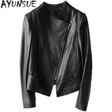 AYUNSUE 2018 Casual Spring Autumn Genuine Leather Jacket Real Sheepskin Coat For Women Short Black Slim Jackets Outerwear YQ1206