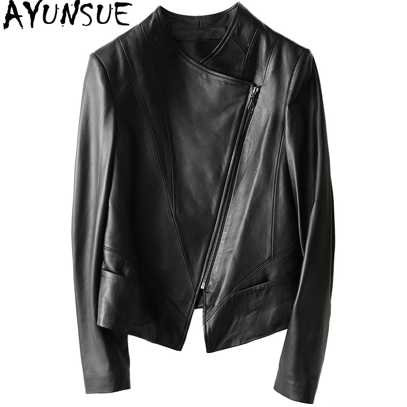 AYUNSUE 2019 Casual Spring Autumn Genuine Leather Jacket Real Sheepskin Coat For Women Short Black Slim Jackets Outerwear 18019