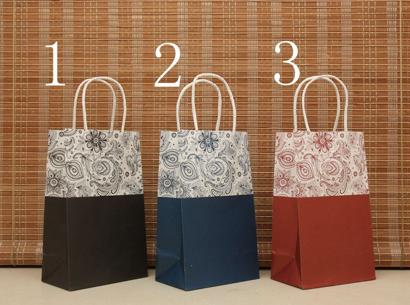 40pcs lot vintage floral paper gift bag with handle party for Craft paper gift bags