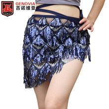 DE Deluxe Little Mermaid Buikdans Kostuum rok Sexy Halloween Hot Ariel Vrouwen Dans Accessoires Pailletten Hip Sjaal Riemen(China)