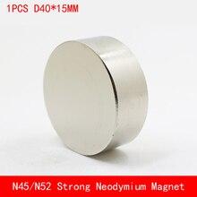 1PCS block D40x15mm N45 N52 Super Powerful Rare Earth NdFeB Magnet Neodymium Magnets diameter 40mm thickness 15mm