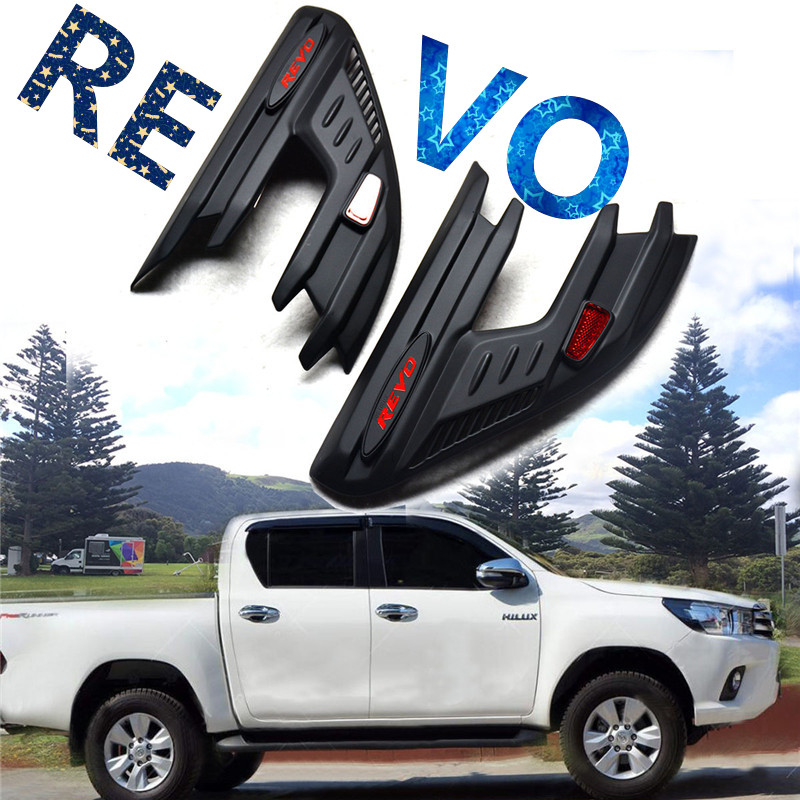 Free shipping 2015 2016 2017 HILUX REVO body kit cover accessories front lamp cover front lights cover 2015 2017 car wind deflector awnings shelters for hilux vigo revo black window deflector guard rain shield fit for hilux revo
